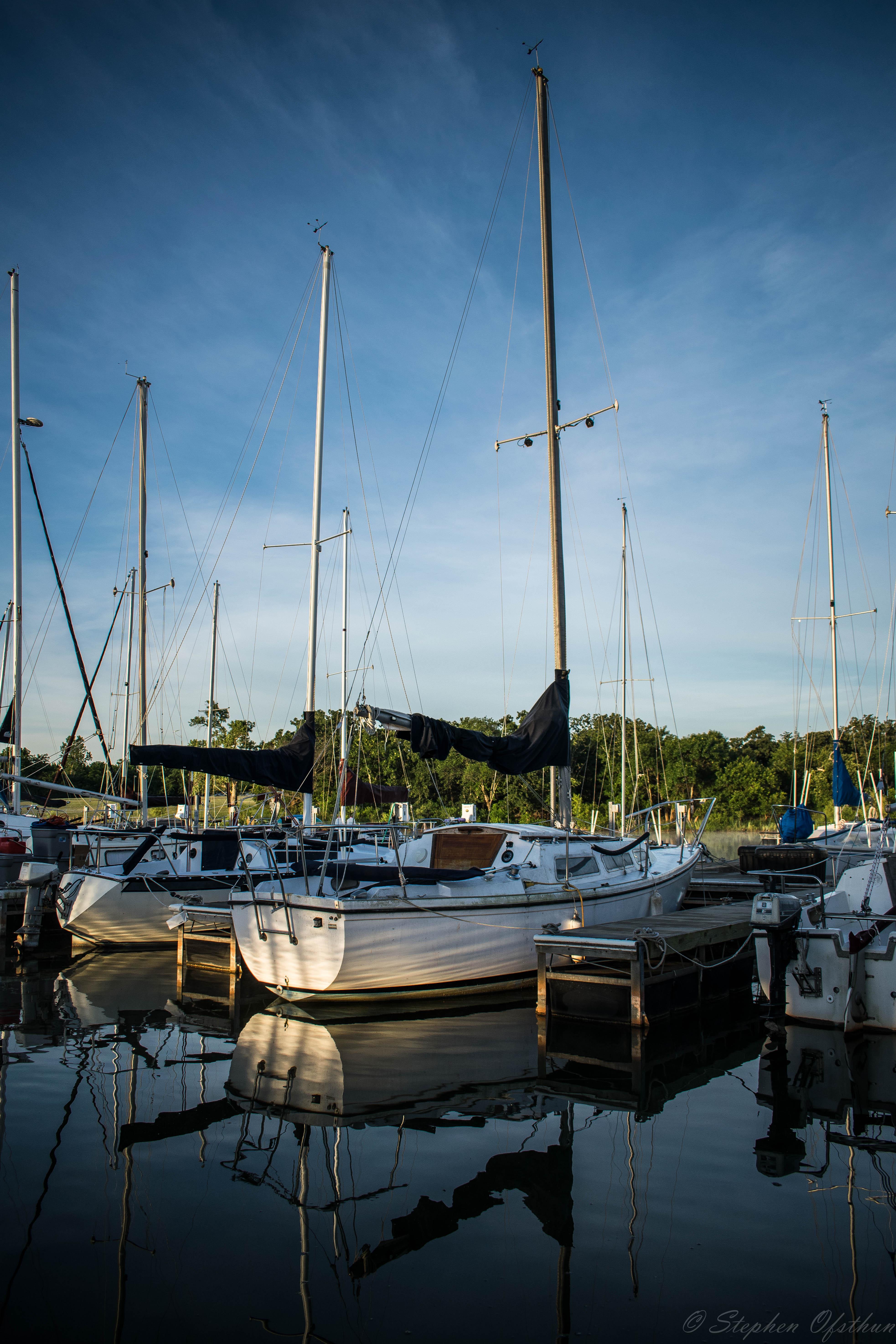 Sailboats docked at Calypso Cove Marina